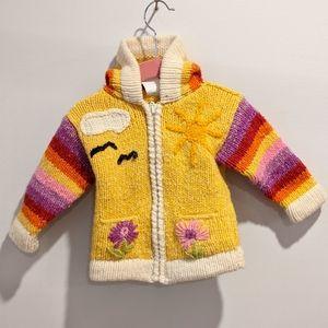 Girls yellow hooded zip knit sweater